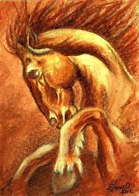 Horse Original Aceo Original by Lena Day
