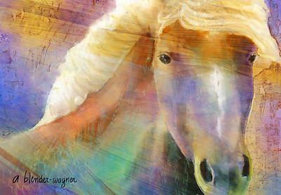 Horse With The Golden Mane Art Print by Arline Wagner