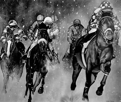Horserace Art Print by Jerry Winick