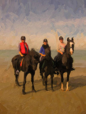 Briex Painting - Horses And Riders And The North Sea by Nop Briex