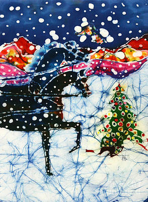 Horses Trot To The Christmas Tree Art Print by Carol Law Conklin