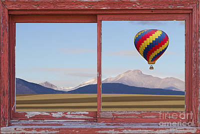 Hot Air Balloon Photograph - Hot Air Balloon And Longs Peak Red Rustic Picture Window View by James BO  Insogna
