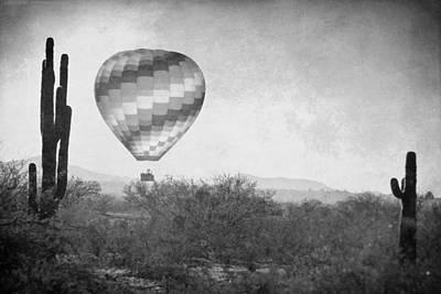 Balloons Photograph - Hot Air Balloon Flight Over Southwest Desert Bw Fine Art Print   by James BO  Insogna