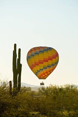 Photograph - Hot Air Balloon In The Arizona Desert With Giant Saguaro Cactus by James BO Insogna