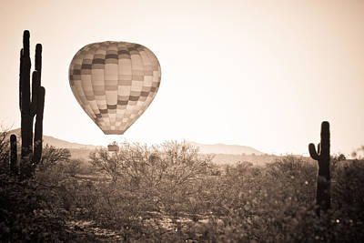Hot Air Balloon Photograph - Hot Air Balloon On The Arizona Sonoran Desert In Bw  by James BO  Insogna