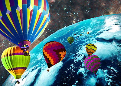 Hot Air Balloon Space Race Art Print by Michael Ambrose