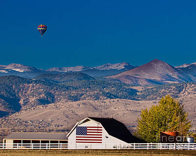 Balloons Photograph - Hot Air Balloon With Usa Flag Barn God Bless The Usa by James BO  Insogna