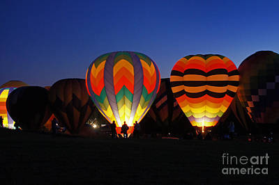 Photograph - Hot Air Balloons At Dusk by Benanne Stiens