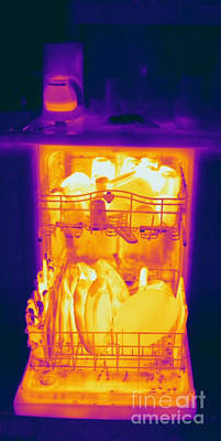 Thermographic Photograph - Hot Dishwasher by Ted Kinsman