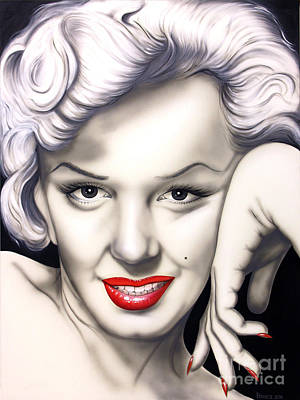Portrait Of Marilyn Monroe Painting - Hot Lips by Bruce Carter