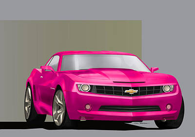 Painting - Hot Pink Camaro by MOTORVATE STUDIO Colin Tresadern