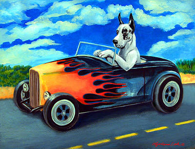 Great Dane Painting - Hot Rod Harl by Lyn Cook