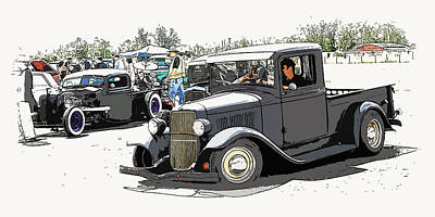 Hot Rod Show Trucks Art Print by Steve McKinzie