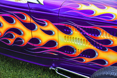 Hot Rod With Custom Flames Art Print