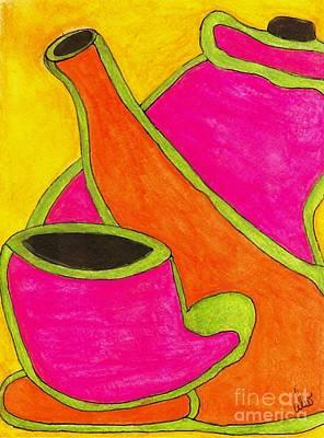 Teapot Painting - Hot Tea... Cold Juice by Angela L Walker