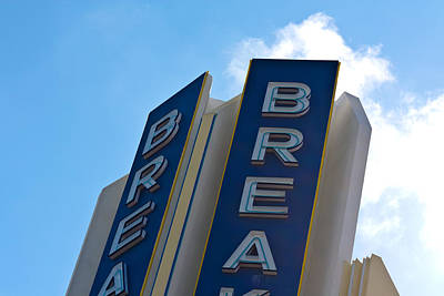 Photograph - Hotel Breakwater Sign At South Beach by Ed Gleichman