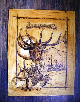 Pyrography Pyrography - Hotel Hubertus-elk Phyrography by Egri George-Christian