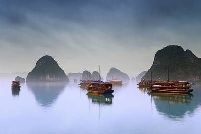 Junk Boat Wall Art - Photograph - Hotel Junks, Halong Bay, Vietnam by Carson Ganci