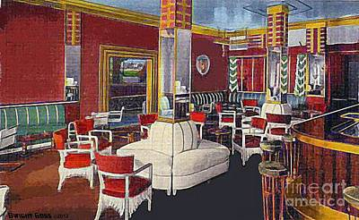 Painting - Hotel Niagara Cocktail Lounge In Niagara Falls N Y Around 1940 by Dwight Goss