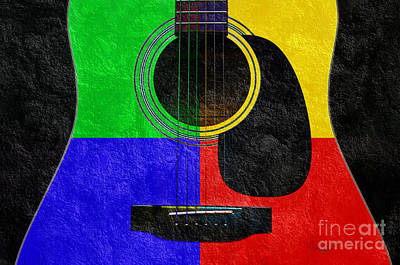 Acoustic Guitar Mixed Media - Hour Glass Guitar 4 Colors 1 by Andee Design