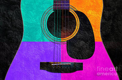 Acoustic Guitar Mixed Media - Hour Glass Guitar 4 Colors 2 by Andee Design