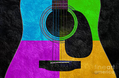 Acoustic Guitar Mixed Media - Hour Glass Guitar 4 Colors 3 by Andee Design