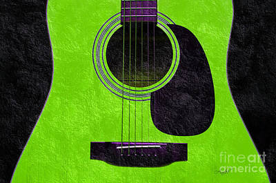 Mixed Media - Hour Glass Guitar Green 3 T by Andee Design