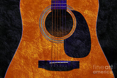 Photograph - Hour Glass Guitar Orange 1 T by Andee Design