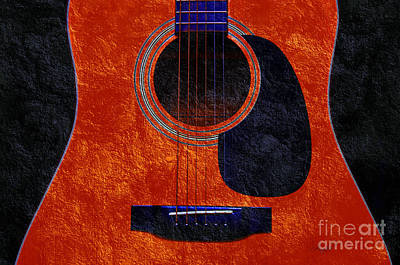 Photograph - Hour Glass Guitar Orange 2 T by Andee Design