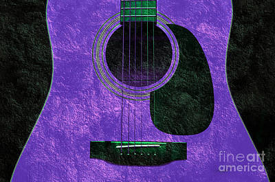Photograph - Hour Glass Guitar Purple 2 T by Andee Design