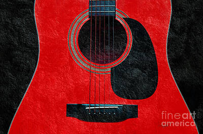 Photograph - Hour Glass Guitar Red 1 T by Andee Design