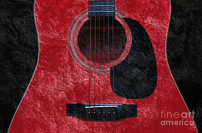 Photograph - Hour Glass Guitar Red 2 T by Andee Design