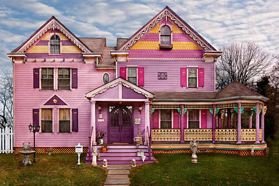 Photograph - House - Victorian - I Love Bright Colors by Mike Savad