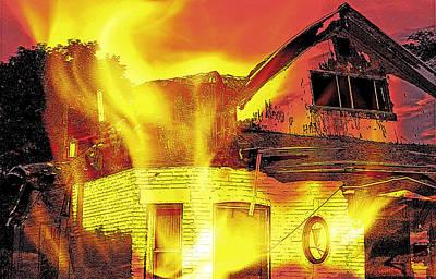 House Fire Illustration Art Print by Steve Ohlsen