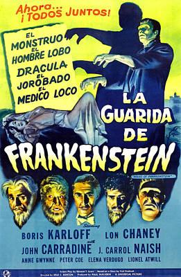 House Of Frankenstein, Girl On Mid-left Print by Everett