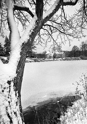 House On Frozen Lake Art Print by Ercole Gaudioso