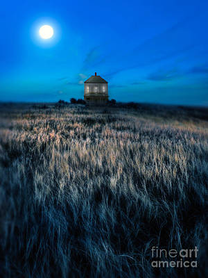 Moonlit Night Photograph - House On The Prairie Under A Full Moon by Jill Battaglia