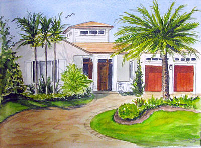 Painting - House With Palm Trees by Clara Sue Beym