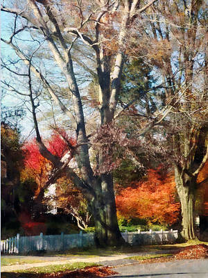 House With Picket Fence In Autumn Art Print by Susan Savad