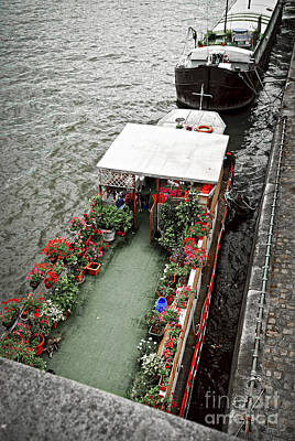 Seine River Wall Art - Photograph - Houseboats In Paris by Elena Elisseeva