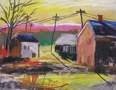 Telephone Wires Drawing - Houses At Sunrise by John Williams