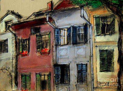 Romania Pastel - Houses In Transylvania 1 by Mona Edulesco