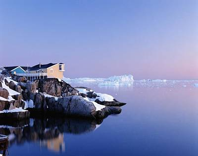 Snowy Night Photograph - Houses On The Coastline With Icebergs by Axiom Photographic