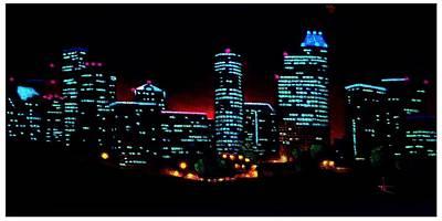 Sunsert Painting - Houston By Black Light by Thomas Kolendra