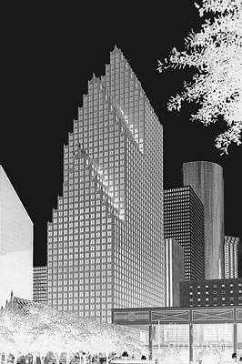 Houston Skyline - Kodak Film Bw Solarized Art Print by Connie Fox
