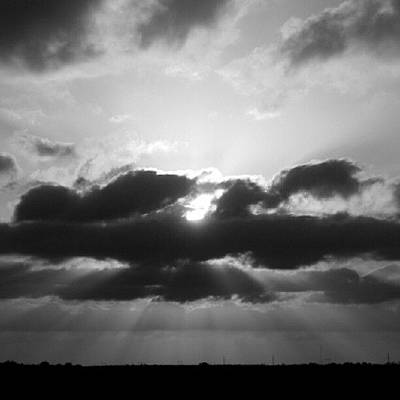 Sunset Wall Art - Photograph - Houston Sunset In Black And White by James Granberry