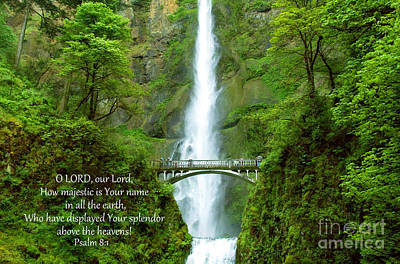 Photograph - How Majestic Is Your Name Spiritual Text On Multnomah Falls Photo by Sherry  Curry