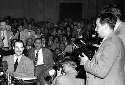 Howard Hughes, Testifying At The Senate Art Print by Everett
