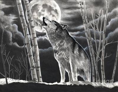 Drawing - Howling At The Moon by Christian Conner