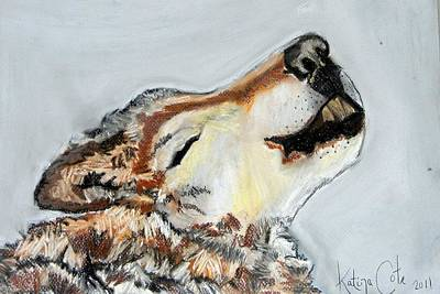 Howling Wolf Art Print by Katina Cote